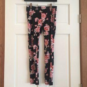 Black Floral Leggings